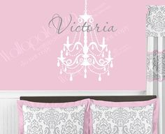 Girls Name Wall Decal  Chandelier Wall decal by WallapaloozaDecals, $45.00