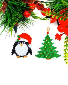 Brick stitch patterns for both, penguin and Christmas tree, are available at SplendidBeads's Etsy Shop Peyote Stitch Patterns, Seed Bead Patterns, Beading Patterns, Bead Embroidery Jewelry, Beaded Embroidery, Brick Stitch Earrings, Bead Earrings, Jewelry Crafts, Handmade Jewelry