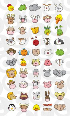 Animal faces embroidered stuff animal faces, baby face drawing и animal Mini Drawings, Easy Drawings For Kids, Small Drawings, Kawaii Drawings, Doodle Drawings, Drawing For Kids, Animal Drawings, Doodle Art, Art For Kids