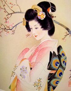 KASYOU Japanese Artwork, Japanese Tattoo Art, Japanese Prints, Japanese Illustration, Illustration Art, Geisha Art, Bonsai Art, Art Japonais, Art Inspiration Drawing