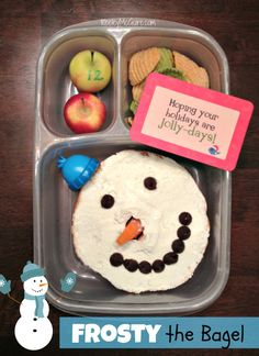 #Lunch Made Easy: Frosty the {Gluten Free} Bagel  Advent #School Lunches, Christmas Countdown