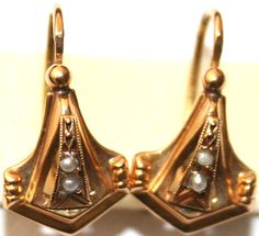 ANTIQUE+VICTORIAN+FRENCH+ROSE+18K+GOLD+PEARL+FINE+HAND+MADE+SMALL+EARRINGS+1880+#Handmade+#Earrings