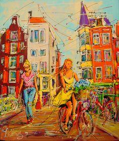 Online veilinghuis Catawiki: Mathias - Street of Amsterdam, girls on the bridge