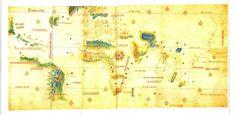 O mapa de Cantino, composto em 1502, já nos mostra um mundo completamente diferente, mostrando a costa da América e indo até à Ásia