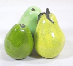 Lot 3 Artificial Fruit Green Pears Ceramic #Unbranded