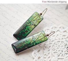 Long Green earrings  Autumn jewelry E034 by BeautySpot on Etsy, $23.00