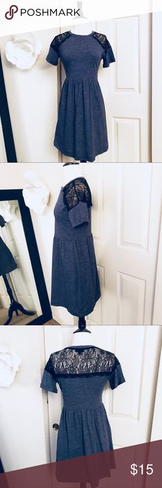 Topshop Blue with Lace Dress Size 4 Preowned Topshop Blue with Lace Dress Size 4. Cute dress excellent condition Topshop Dresses