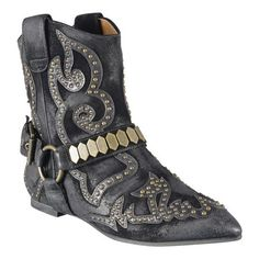 Western and rocker glam in one bootie.  It is all about the stunning details.  Mini studding and leather design accents.  Front buckle with large studding.  Leather upper and sole.  This style is available exclusively @ Nine West Stores & ninewest.com.