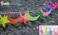 زينة رمضان هلال ونجمة Ramadan Printables Paper Crafts Diy Kids Ramadan Decorations