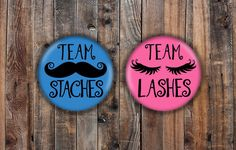 Cute Lashes or Staches gender reveal pins. Pink and Blue. by LittleShindig on Etsy https://www.etsy.com/listing/531738706/cute-lashes-or-staches-gender-reveal