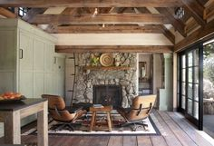 The stone fireplace in TKP Architect's Mountain Cottage