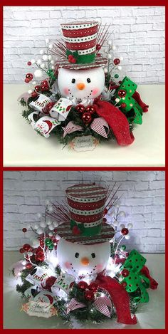 15 Festive & Fun Christmas Porch Ideas : Light up Snowman Centerpiece, Christmas Centerpiece, Red Top Hat Snowman Centerpiece, Raz Christmas Centerpiece, Snowman Table Decor by Splendid Homecrafts on Etsy. Christmas Porch, Christmas Snowman, Christmas Holidays, Christmas Wreaths, Christmas Ornaments, Snowman Wreath, Snowman Crafts, Snowman Hat, Christmas Vacation