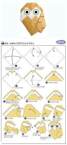 小猫头鹰折纸教程。【阿团丸子】, Origami Crafts for Kids, Free Printable Origami Patterns, Tutorial, crafts, paper crafts, printable kids activities, cute animal origami, kawaii, paper crafts, diy, origami paper for kids