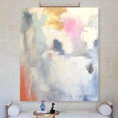 "Items similar to 48""x60""x1.5"" Large Canvas Art, Amanda Faubus Gold + Silver Leaf Original Painting, creme, white, grey, orange, pink, robin's egg gr on Etsy"