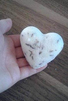 This medium-sized bath bomb is adorable, and heart-shaped! Fits in the palm of your hand, and creates a relaxing bath experience with a touch of romance!  A perfect gift to show someone you care! Drop this into your tub under running hot water, to release the lavender petals and unleash the intoxicating aromas of lavender. Epsom Salt in the bath bomb contributes to the relaxing experience-- soothing your sore muscles. A heavenly escape