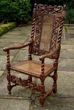 ~ Antique Charles II Walnut Armchair, c. 1665 to c. Vintage Dining Chairs, Antique Chairs, Antique Furniture, Furniture Decor, Furniture Design, Baroque Decor, Muebles Art Deco, Rocking Chair Nursery, Walnut Chair