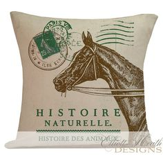 Pillow Cover French Style Equestrian Horse Lover Farmhouse Decor Burlap Cotton Throw Pillow AN-74