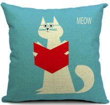 1PCS Cotton Linen Square Reading Cat Cushion Cover Home Decor Sofa Pillow Case