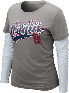 St. Louis Cardinals Women s Nike Charcoal Heather Long Sleeve  Outta Your  League  Double 8bdee839e41