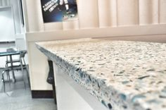 Vetrazzo Floating Blue Contemporary Austin Latera for Recycled Glass Kitchen Countertops Blue Kitchen Countertops, Recycled Glass Countertops, Cheap Countertops, Kitchen Countertop Materials, Concrete Kitchen, Butcher Block Countertops, Glass Kitchen, Concrete Countertops, New Kitchen