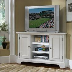 Home Styles Home Styles Naples Corner TV Stand in White