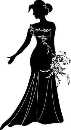 Beautiful Black And White Silhouette Black Silhouette, Silhouette Vector, Silhouette Cameo, Stencils, Pretty Drawings, Wedding Images, Pyrography, Wedding Couples, Vintage Prints