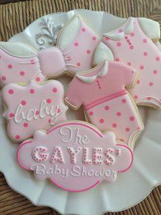 Sugar Cookies with Pink and White Baby Shower Royal Icing Designs. Fancy Cookies, Iced Cookies, Cute Cookies, Cupcake Cookies, Sugar Cookies, Cookies Et Biscuits, Onesie Cookies, Galletas Decoradas Baby Shower, Galletas Cookies