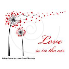 dandelion flower with red hearts, digital clipart for Valentine's day,... ($5) ❤ liked on Polyvore featuring backgrounds