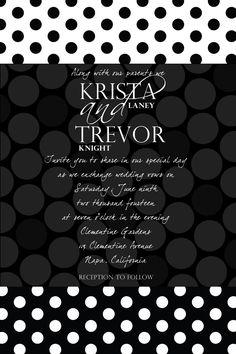 Custom Black and White Polka Dot Wedding by Joyinvitations on Etsy, $14