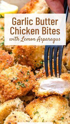 Chicken Bites, Butter Chicken, Garlic Butter, Recipe For Chicken, Easy Chicken Tender Recipes, Chicken Breats Recipes, Chicken Bake Recipes, Health Chicken Recipes, Easy Healthy Chicken Recipes