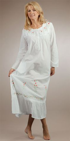 83800b66d6 Plus La Cera Long Sleeved White Cotton Gown - Red Rose Embroidered Cotton  Nighties