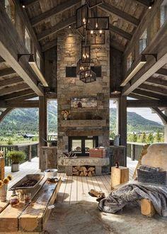 59 Amazing Rustic House Design Trends for 2020 - Dream House Rooms Rustic Home Design, Dream Home Design, Wood House Design, Loft Design, Patio Design, Mountain Living, Mountain Homes, Modern Mountain Home, Mountain Cottage
