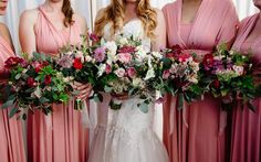 Alicia and her maids. Bridesmaid Dresses, Wedding Dresses, Maids, Our Wedding, Wedding Flowers, Floral Wreath, Wreaths, Decor, Fashion