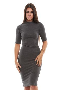 Funnel Neck Midi Dress