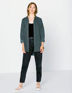 Pull&Bear - mujer - denim collection - camisa denim oversize - gris - 09470302-I2016