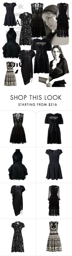 """I'll stop wearing black when they invent a darker color!"" by lalu-papa on Polyvore featuring Dansk, Elie Saab, Kenzo, Brandon Maxwell, Guild Prime, Lost & Found, Zimmermann, HVN and Alexander McQueen"
