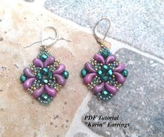 Earrings Pattern, Beaded Earrings Tutorial, Zoliduo Beads Pattern, Earrings Tutorial, DIY Earrings, Karin Earrings, Instant Download This PDF beading tutorial includes instructions for an elegant pair of earrings! You can use the colors I did or you can use the colors of your choice.