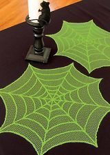 RETIRED!! Heritage Lace Halloween Spider Web Items in Alien Green