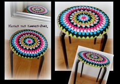 A crochet stool cover (from Ikea). Here can you find the pattern http://www.pinterest.com/pin/126734176988456724/