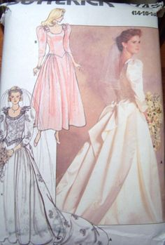 Butterick 4743 Misses Wedding Brides Bridal Bridesmaid Formal Dress Gown Size 14 16 18