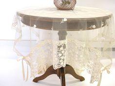 Shabby chic Table Runner French lace  Ecru by ClassyInteriorsDeco