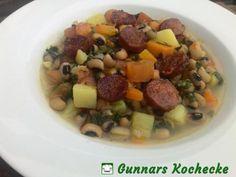Schwarzaugenbohnen-Eintopf mit Spinat und Chorizo - #Rezept