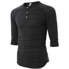 LE3NO PREMIUM Mens Slim Fit Raglan 3/4 Sleeve Baseball Button Henley... ❤ liked on Polyvore featuring men's fashion, men's clothing, men's shirts, men's casual shirts, men, tops, guys, shirts, mens polyester shirts and mens slim fit shirts