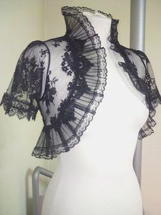 VENETIAN black lace bolero jacket wedding shrug by angelinadesign, 75.00. Another lovely bolero to top a wedding dress.