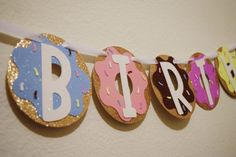 Donut Party Birthday Banner Glitter Doughnut by LetsGetDecorative Donut Birthday Parties, Donut Party, Birthday Party Themes, Girl Birthday, Birthday Banners, Birthday Ideas, Happy Birthday Donut, Birthday Invitations, Birthday Display