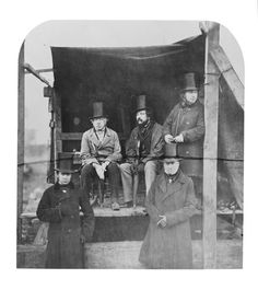 IK Brunel (top right) and his mates, including George Stephenson (inventor of 'Rocket')(seated left), mid I love this picture. some of the world's greatest ever engineers, just hanging out, waiting for a lift home. Victorian Men, Edwardian Era, Old Photographs, Old Photos, George Stephenson, Ww2 Women, Isambard Kingdom Brunel, Steampunk Airship, Liverpool History