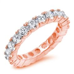 4mm Full Eternity Stackable Rose Gold 925 Sterling Silver Round Russian Diamond CZ Wedding Engagement Anniversary Rose Gold Eternity Band