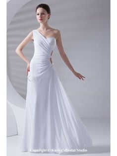 Chiffon One-shoulder Neckline Column Sweep Train Prom Dress