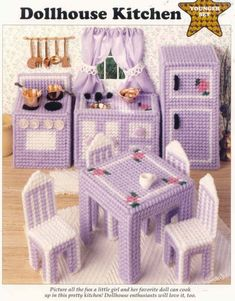 DOLLHOUSE KITCHEN   plastic canvas pattern