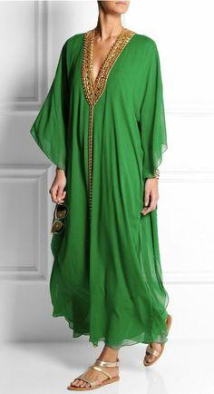 Julien Macdonald Hilary embellished silk-georgette kaftan _ by MELISSA ODABASH